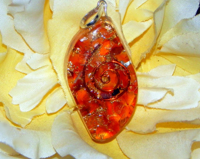 SACRAL CHAKRA Orgone pendant - Handcrafted gemstone Reiki Crystal Necklace - Carnelian copper