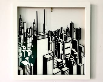 chicago skyline wall art, hand painted glass, vintage wooden window frame, black & white, lakefront, city, aerial, christmas gift