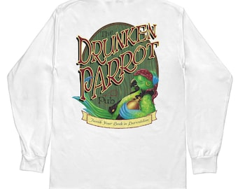 Jimmy Buffett Margaritaville Style White Long Sleeve Parrot T Shirt by Lost Reef Sizes S M L XL 2XL 3XL