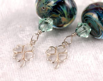 Lampwork Glass Lucky Green Earrings with Silver Clover