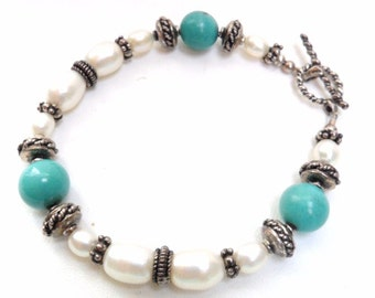 Freshwater Pearl  Turquoise Sterling Silver Toggle Bracelet