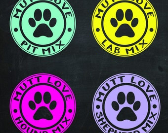 Mutt Love Decal with your Breed
