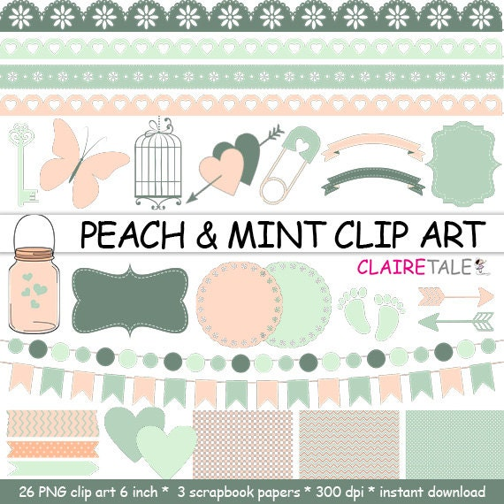 "Digital ""PEACH & MINT CLIPART"" frames, ribbons, borders, flags, arrows, butterfly, lights, hearts, mason jar, key, bird cage, baby shower"