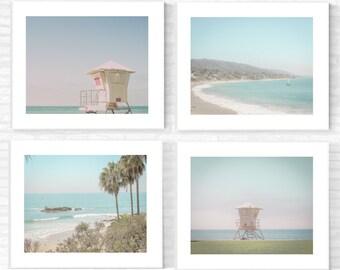 Beach Photography Print Set Laguna Beach California Lifeguard Tower Retro Surf Pretty Decor LA Wall Art Turquoise Blue Aqua Vintage Palm OC