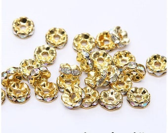 10-pcs-Pearl rondelle spacer 8 mm gold metal rhinestones transparent AB