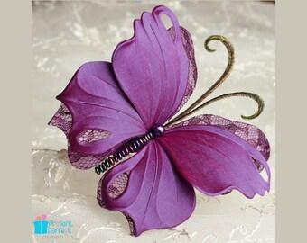 Butterfly fascinator, purple wedding, butterfly hair, flowergirl headband, buterfly fascinator, purple headband, butterfly hairpiece UK shop