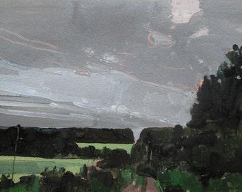 Easement Ridge, Original Summer Landscape Painting on Paper, Stooshinoff