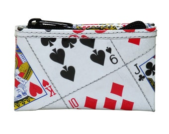 Playing cards zip coin purse - FREE SHIPPING - Recycled Playing card purses, upcycled wallets , zipper pouch, Playing card bag