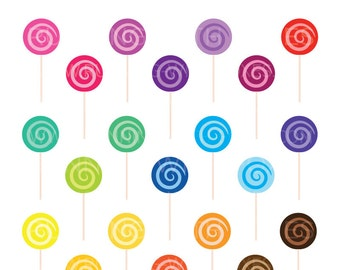 Swirl Lollipops Clip Art | Cute Candy Shop Food Dessert Graphic Rainbow | Digital Illustration Stock Icons | Personal or Commercial Use