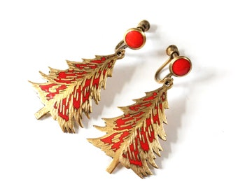 Vintage Brass Siam Red Enamel Christmas Tree Earrings