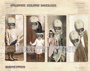 Printable bookmark Steampunk gothic skeleton vintage image Bookmarks instant download