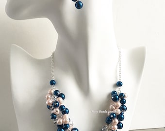 Navy Pink Cluster Necklace Navy and Blush Necklace Bridesmaid Gift on a Budget Bridesmaids Necklace Navy Necklace Blush Theme Wedding