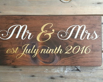 Mr and Mrs wooden sign, Wedding sign outdoor, Wood signs personalized, Wood wedding signs