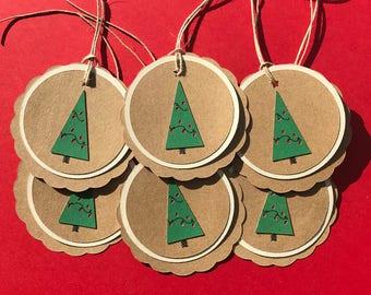 Rustic Christmas Gift Tags,Set of 6, Christmas Tree,Kraft Paper, Green, Red,Twine,Star,Handmade,Country Christmas