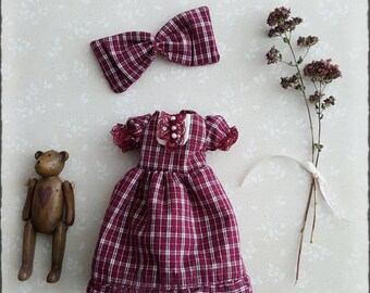 2  piece dress set with bow for blythe doll pullip customdoll ooak