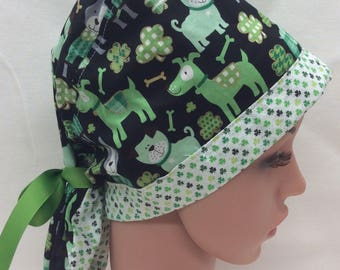 St. Patrick's Day Surgical Scrub Cap, Chemo Cap, Nurse Hat, Scrub Hat