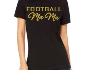 Football Mama glitter gold tee