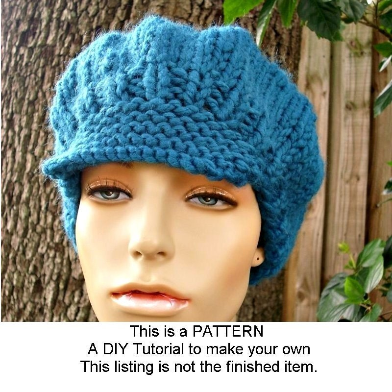 Instant Download Knitting Pattern - Knit Hat Pattern Chunky Newsboy ...