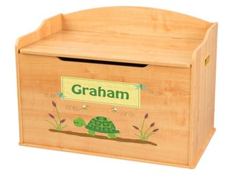 Personalized Turtle Natural Toy Box Bench