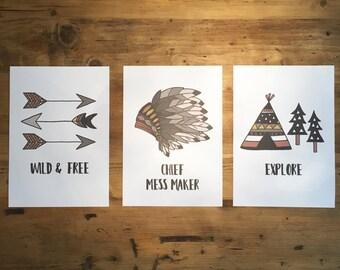Native/Explorer Inspired Childrens A4 Prints