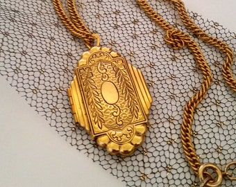 Victorian Revival Locket - Gorgeous Repousse Design - Etched Locket - Gold Tone Locket - Gift for Her