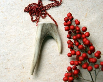 Forked Antler Tip Necklace with Vintage Red Enameled Chain