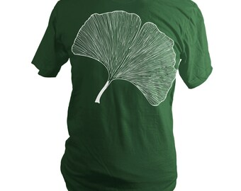 Forest Green Japanese Ginkgo Leaf Summer T-Shirt, Botanical, Gingko, Men, Women, Unisex - Gifts for Him or Her, Made in USA, Last One