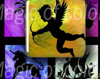 Silhouettes - 63  1x1 Inch Square JPG images - Digital  Collage Sheet