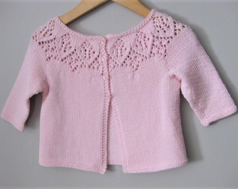 Hand Knitted Baby Girl Pink Leaf Lace Cardigan Sweater