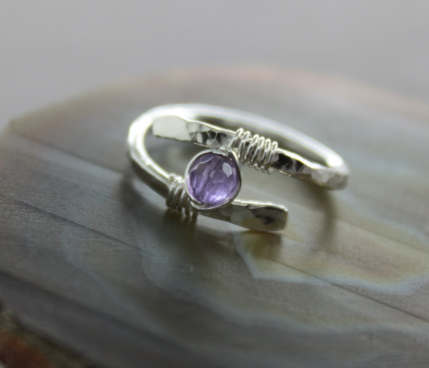 Sterling silver ring with wrapped small amethyst stone Other