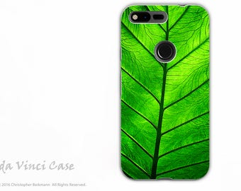 Tropical Green Leaf - Artistic Google Pixel XL Tough Case - Dual Layer Protection - Leaf of Knowledge - Premium Pixel XL Case