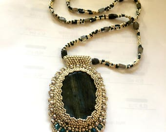 Embellished Labradorite Pendant Necklace