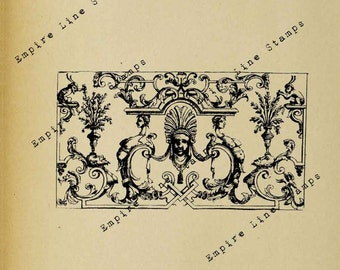 French 18th Century Ornate Wall Panel - Digital Download Image Transfer Pillow Iron-On Teeshirt Fabric Scrapbooking Digital Stamp Clipart