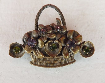 Vintage Miriam Haskell style rhinestone flower basket pin or brooch dimensional and highly detailed floral