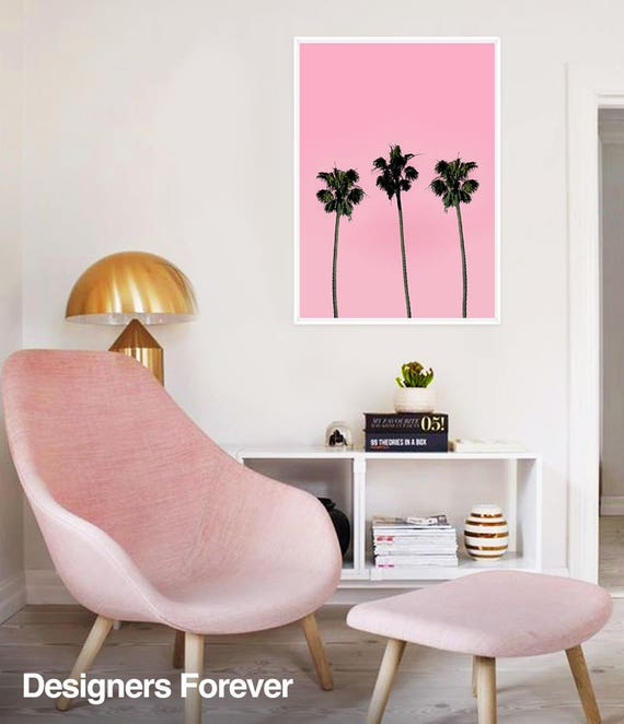 Pink Palms plant poster neon sign poster printable digital