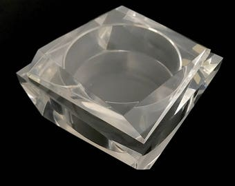 ge Mid Century Modern Italian Geometric Faceted Lucite Jewelry / Trinket Box Made In Italy Artist Signed MCM