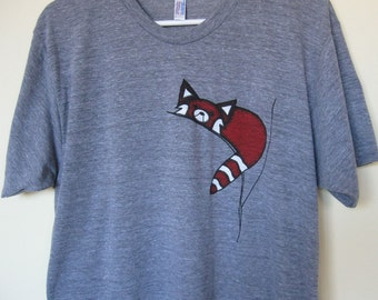 Red Panda T Shirt Men or Unisex Athletic Grey