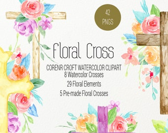Watercolor Floral Cross, wood cross and pastel watercolor cross with flower decoration, cross clipart for instant download