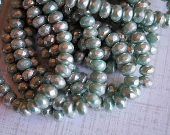 3x5mm Fire Polished Rondelle - Green Turquoise with Mercury Finish - Premium Czech Beads - Bead Soup Beads - Czech Beads