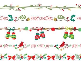Christmas Border Clipart Frame Seamless Clip Art Holidays Banner