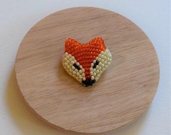 Red Fox Bead Brooch