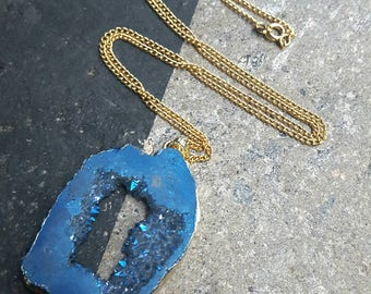 Midnight Blue Druzy Crystal Geode Gold Tone Pendant NecklaceFREEUKP&P