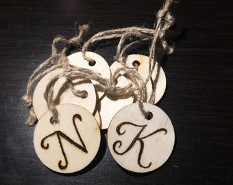 Wood-Burned Letter Tags