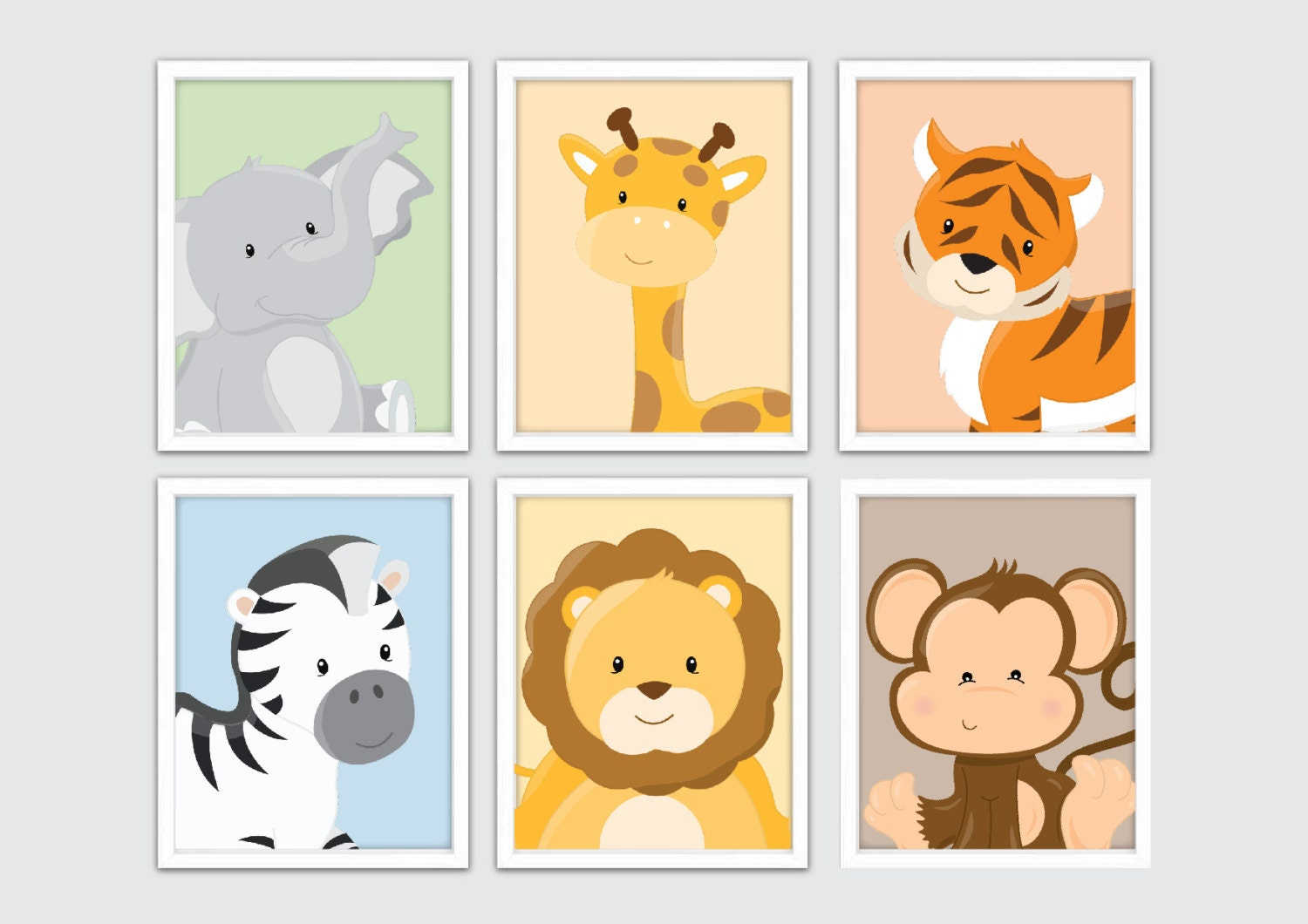 Jungle Nursery Wall Prints Kids Safari Wall Art Safari