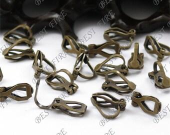 50 pcs of  Antique Brass brass leverback ear clip 9x13mm,earring findings