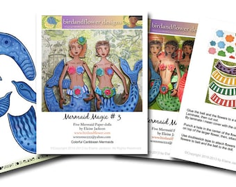 Caribbean Mermaid Printable PDF Paper Dolls