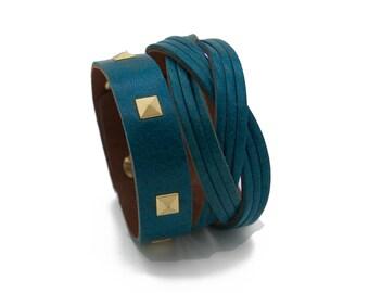 Teal Leather Cuff Bracelet, Blue Cuff Bracelet  - the Atena