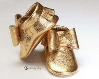 Baby Moccasins Leather Baby Moccasins, Gold Leather Baby Bow Moccasins, Baby Girl Moccasins, Toddler Moccasins, Baby Girl Shoes, Gold Shoes