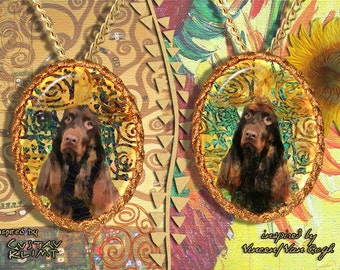 Field Spaniel Jewelry Pendant - Brooch Handcrafted Porcelain by Nobility Dogs - Gustav Klimt and Van Gogh
