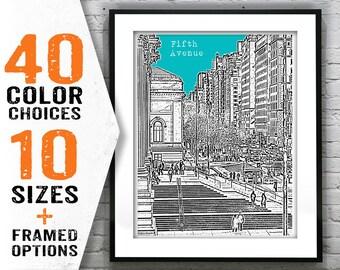 Fifth Avenue 5th Ave. Skyline Art Print Poster New York City NY Item T1474